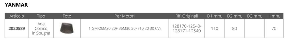 FILTRO ARIA YANMAR RIF.OR.128170/1-12540