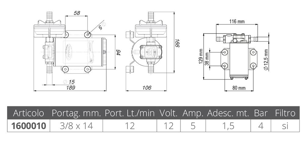 POMPA AUTOCLAVE UP9-XC 12 V.