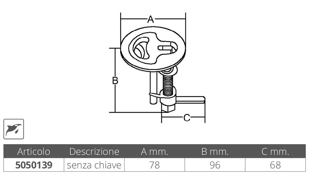 ALZAPAGLIOLO INOX 316 Ø MM.78
