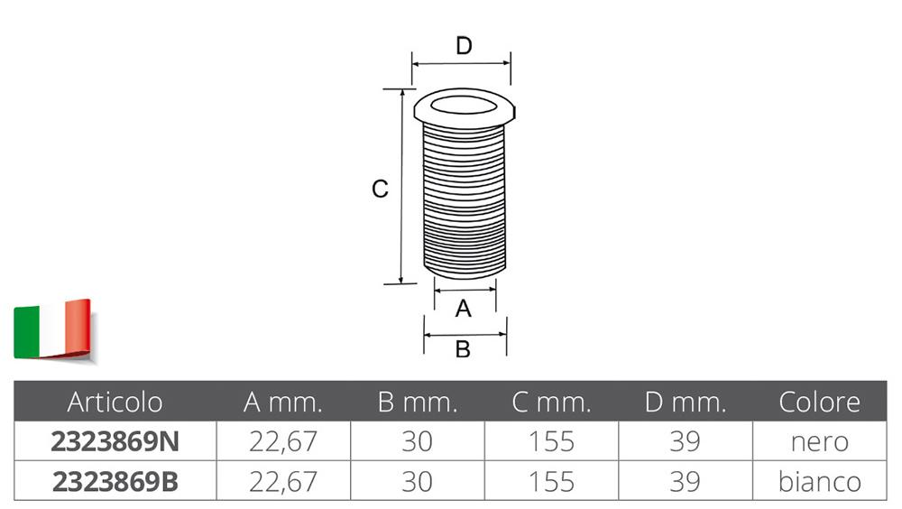 SCARICO A MARE IN PVC Ø MM.22,67X155
