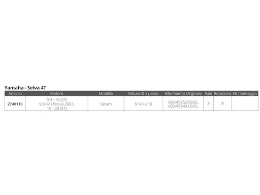 ELICA INOX SATURN YA 3 - 9 1/4 X 10
