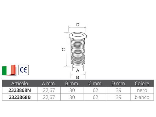 SCARICO A MARE IN PVC Ø MM.22,67X62
