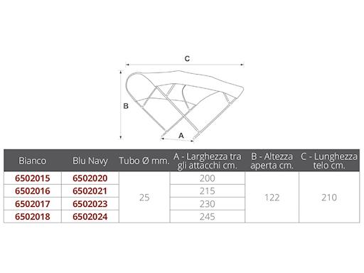 CAPOTTINA ARIA IN ACCIAIO INOX A 3 ARCHI TUBO Ø MM.25
