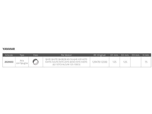 FILTRO ARIA YANMAR RIF.OR. 129470-12330